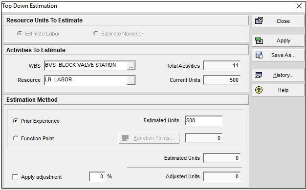 Top Down Estimation Window