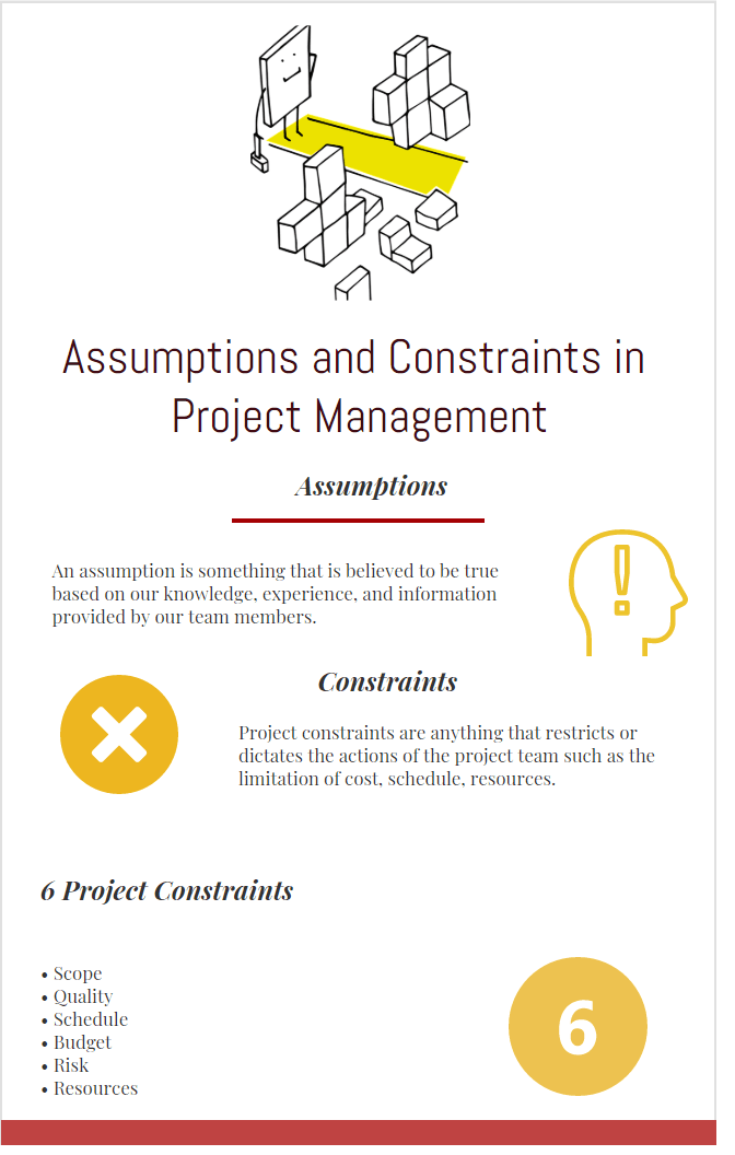 Assumptions and constraints infographic