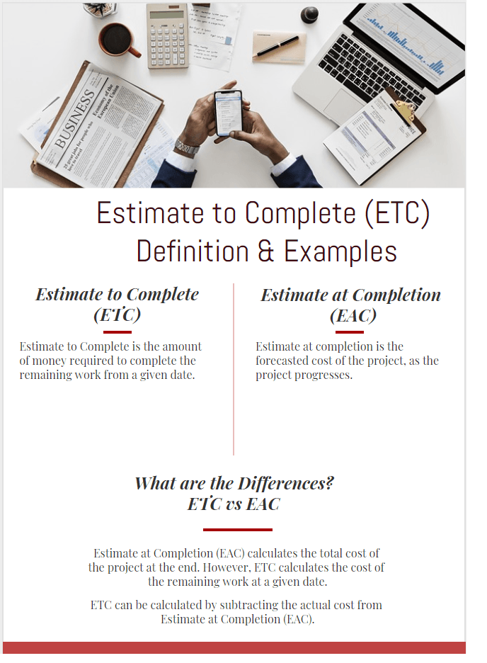Estimate to Complete (ETC) Definition & Formula & Examples infographic
