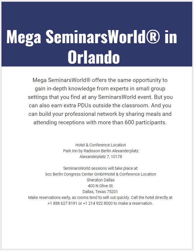 Mega SeminarsWorld in Orlando
