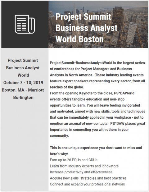 Project Summit Business Analyst World Boston