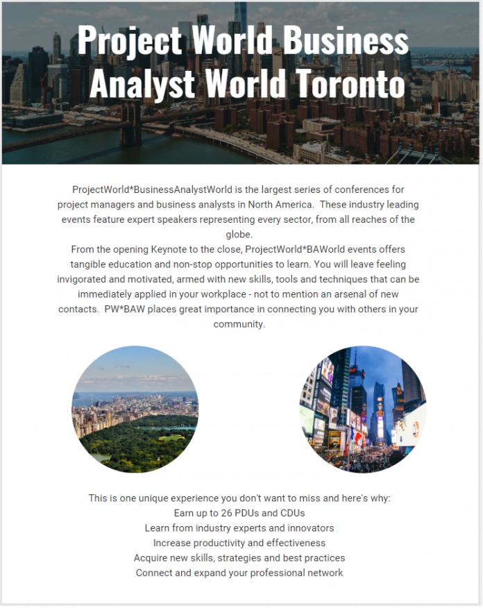Project World Business Analyst World Toronto