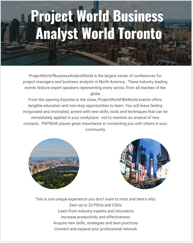 Project World Business Analyst World Toronto