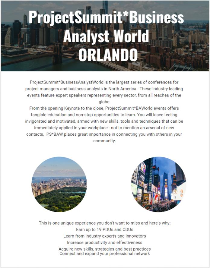 ProjectSummit Business Analyst World - Orlando