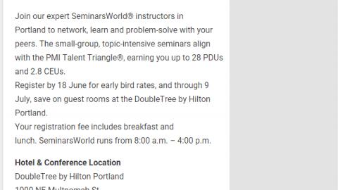 SeminarsWorld in Portland