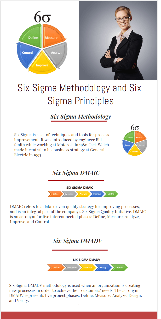 Six Sigma Methodology DMAIC DMADV Six Sigma Principles infographic