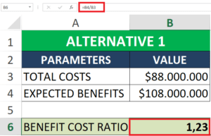 simple benefit-cost ratio EXCEL CALCULATION EXAMPLE steps
