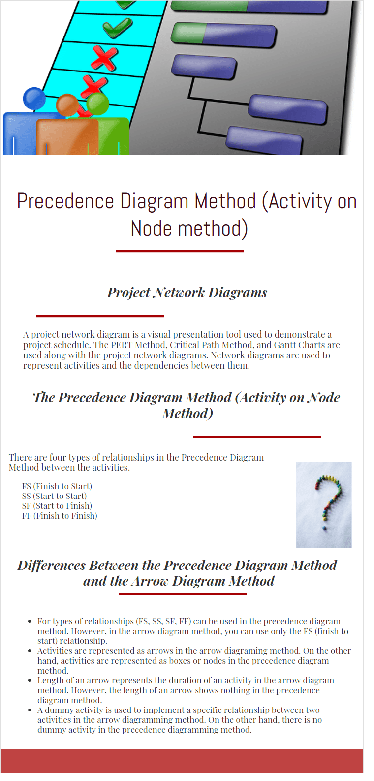 precedence diagram method infographic