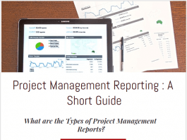 project management reporting tools, methods, types of reports in project management reporting and communication infographic