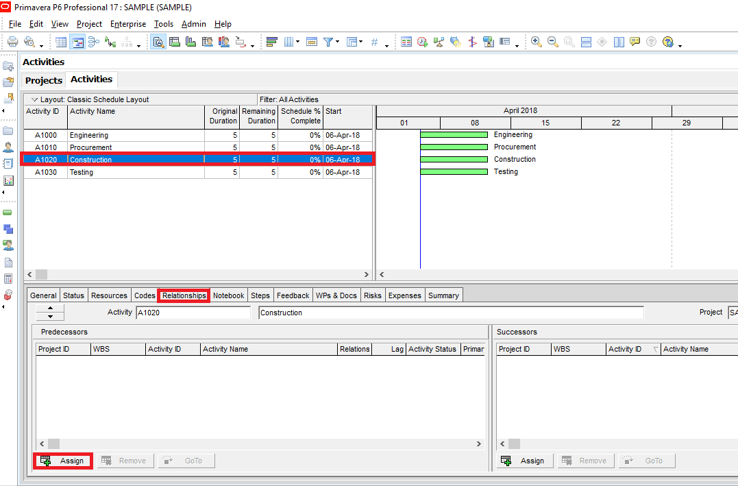 Figure 2 Relationship Tab-min -how to link activities in primavera P6
