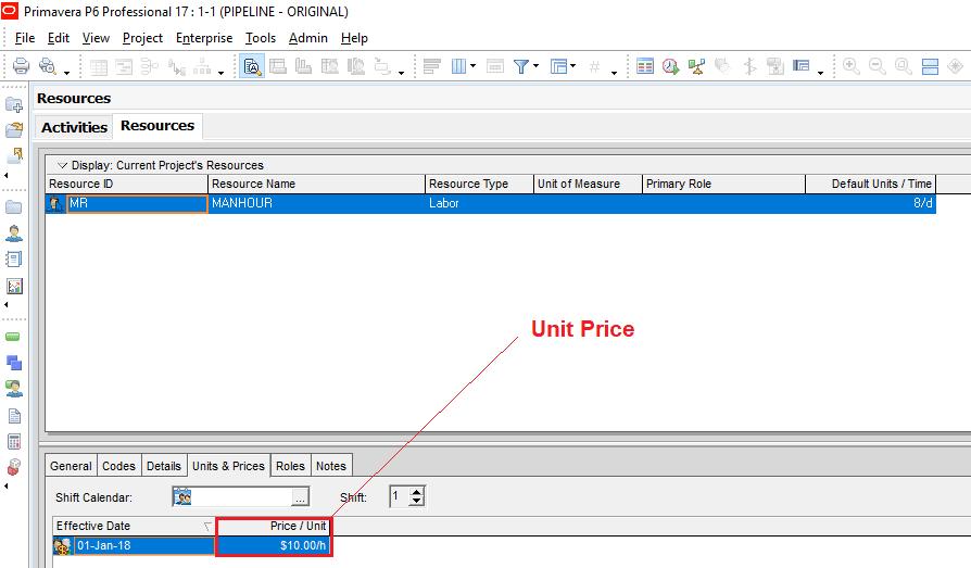 Figure 3 Unit Price- Primavera P6 Cost Management