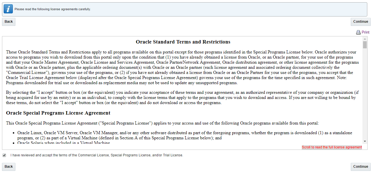 Figure 4 Oracle Standard Terms and Restrictions