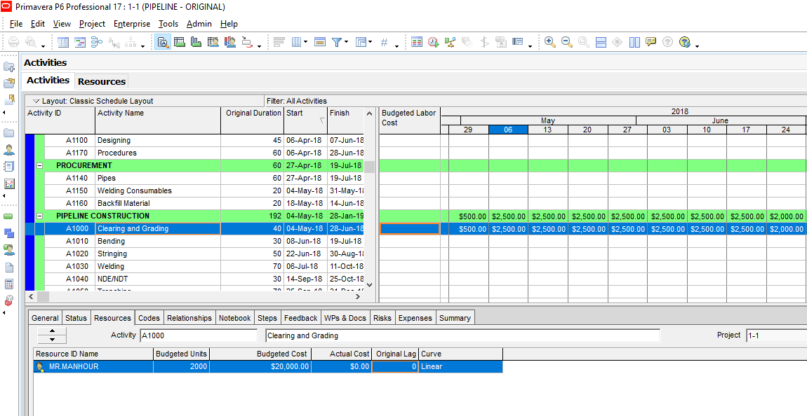 Figure 5 Activity Usage Spreadsheet -Cost Loading in primavera p6