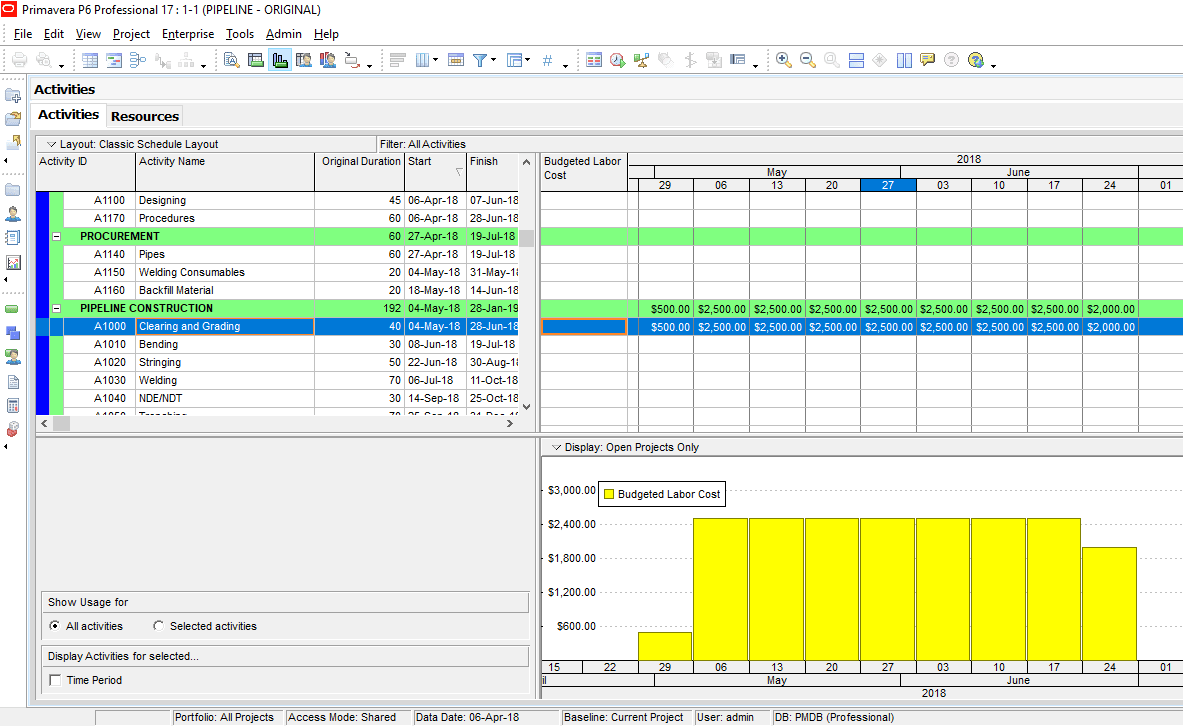 Figure 6 Cost Loading Histogram -cost loaded schedule primavera p6