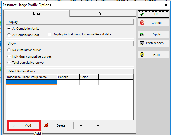 Figure 6 Resource Usage Profile Options Add