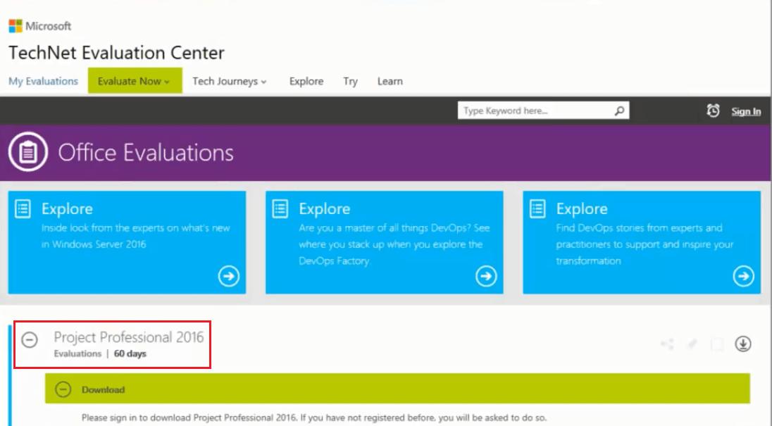 Figure 2 -Microsoft TechNet Evaluation Center