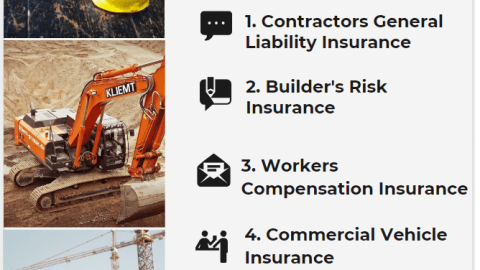 construction insurances involve Contractors General Liability,Builder's Risk,Workers Compensation and Commercial Vehicle insurance