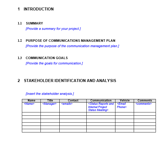 Project Communication Plan Template Example