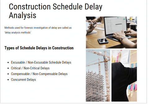 commercial construction schedule delay analysis, forensic schedule delay analysis and types of delays in construction projects