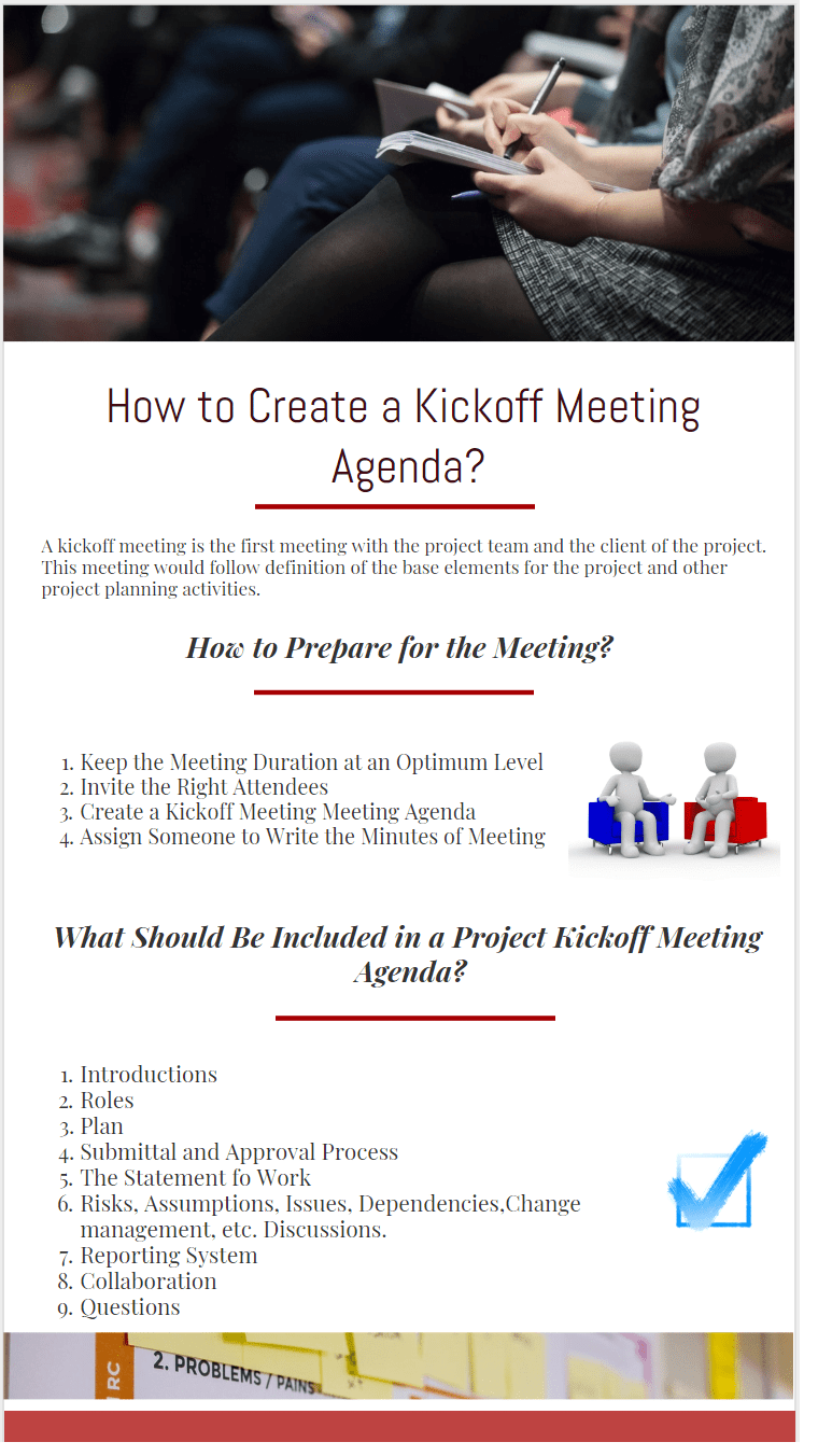 How to Create a Project Kickoff Meeting Agenda infographic