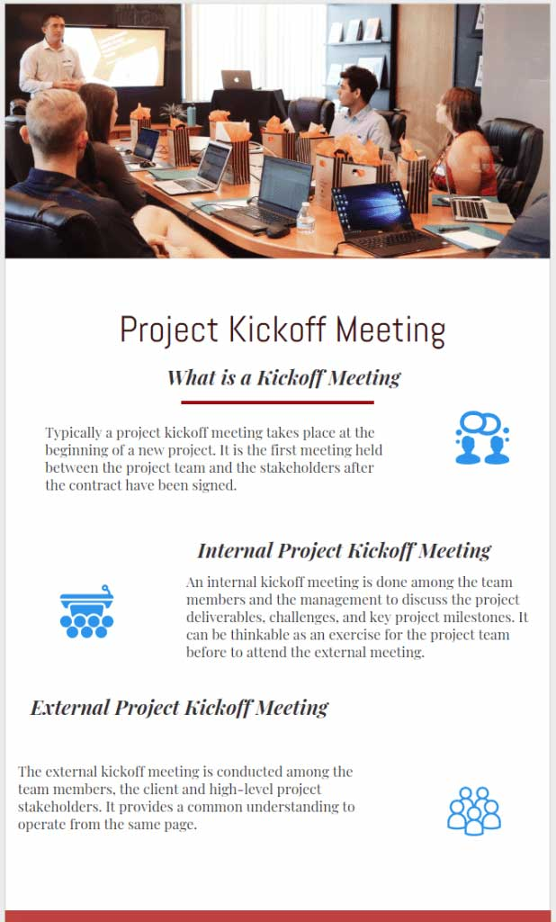 Internal and External Project Kickoff Meeting Agenda infographic