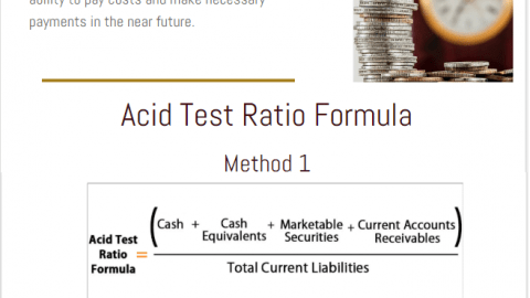 acid test ratio quick ratio formula definition example