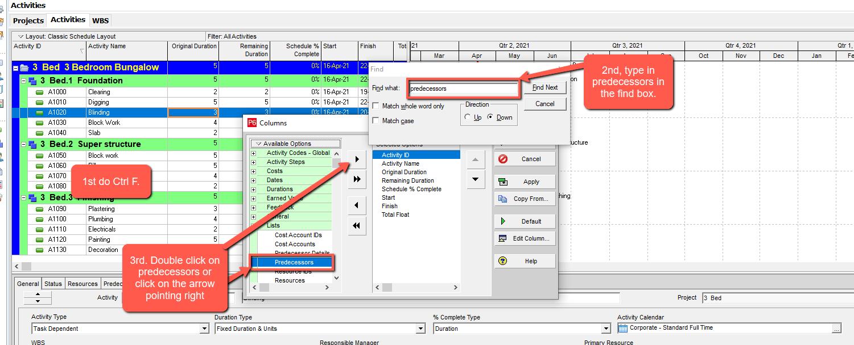 primavera p6 select predecessors