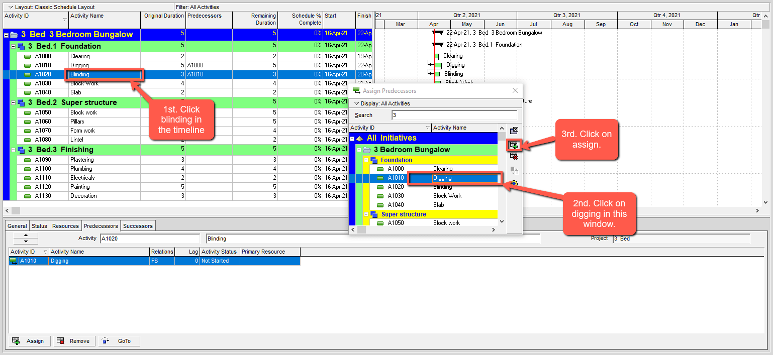 Primavera P6 Inserting a relationship sample construction project