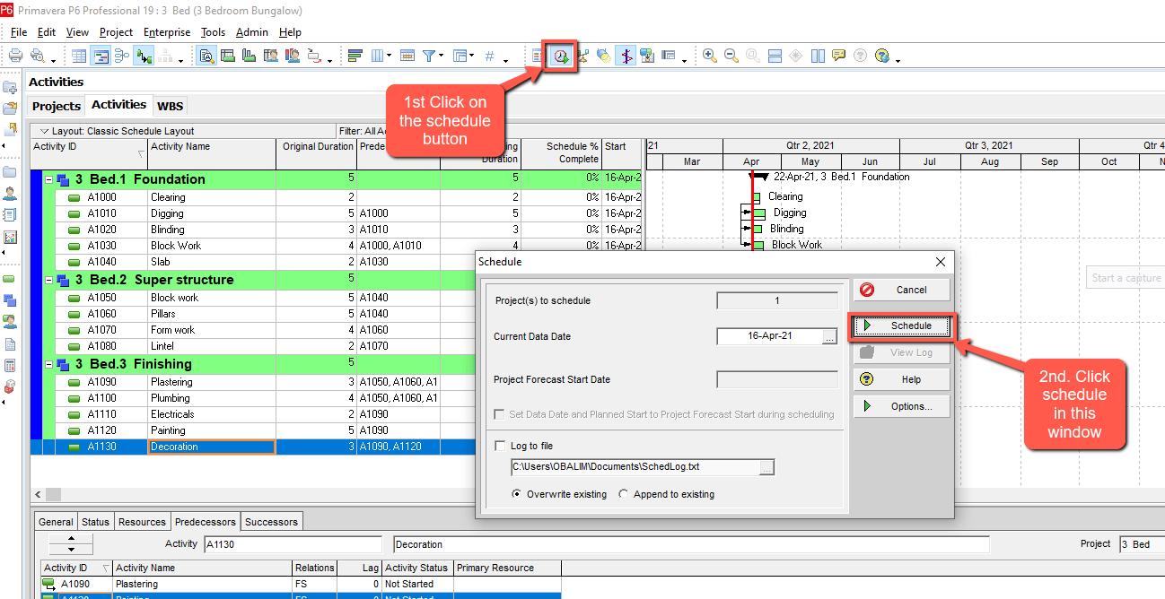 schedule button p6